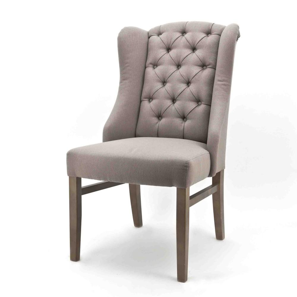 Stuhl gepolstert, Polsterstuhl Chesterfield, Farbe taupe