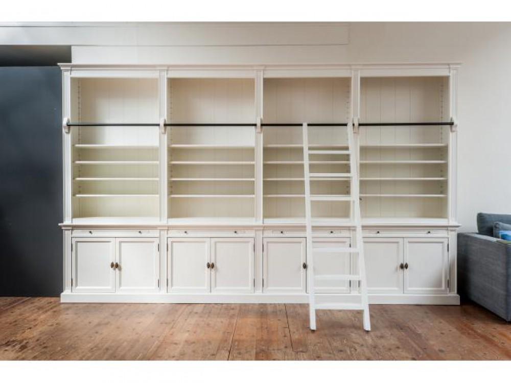 Bücherschrank Weiß Im Landhausstil Bücherregal Wand Massivholz In