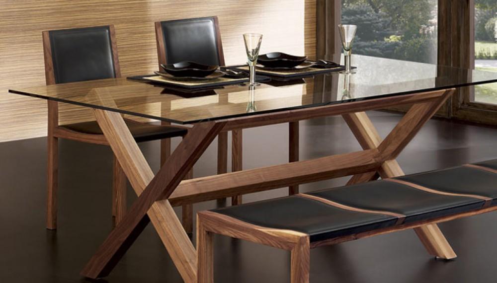 Design esstisch aus glas und walnuss massiv for Esstisch italienisches design