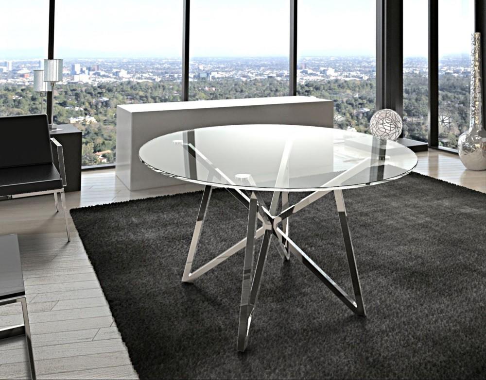 Runder Esstisch Glas Metall, Tisch rund verchromt, Glastisch