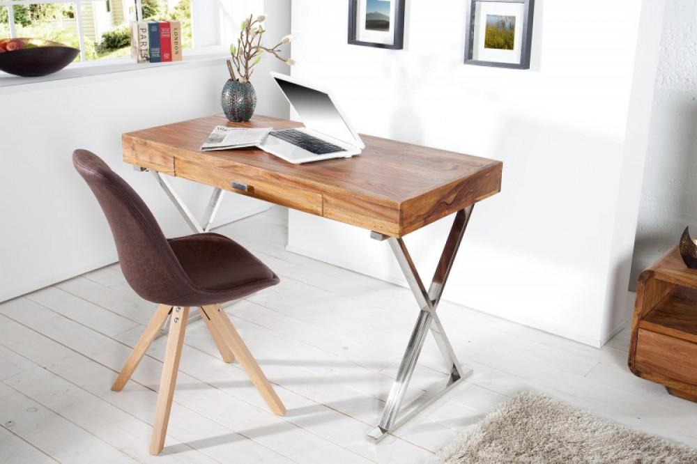 Tisch Massivholz Wandtisch Verchromtes Gestell Schreibtisch