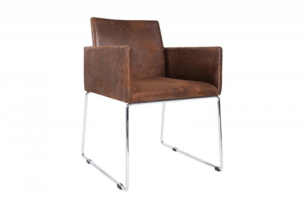 stuhl braun vintage mit armlehne besucherstuhl braun stuhl mit armlehne braun. Black Bedroom Furniture Sets. Home Design Ideas