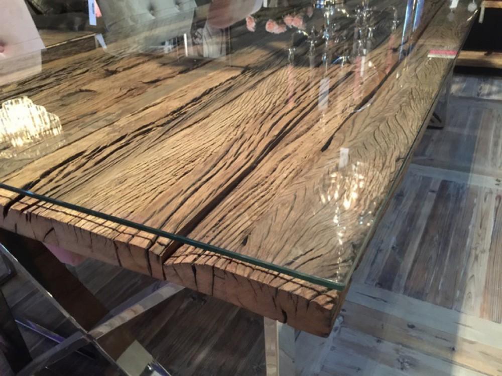 esstisch tischplatte aus altholz mit glasplatte tisch massivholz im landhausstil l nge 240 cm. Black Bedroom Furniture Sets. Home Design Ideas