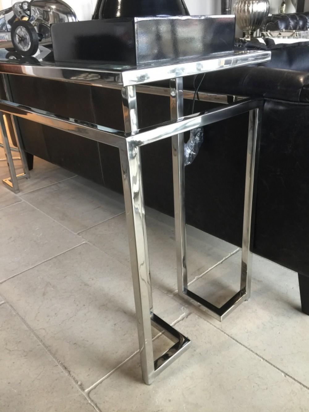 konsole verchromt glas metall sideboard mit glasplatte ma e 160x45 cm. Black Bedroom Furniture Sets. Home Design Ideas