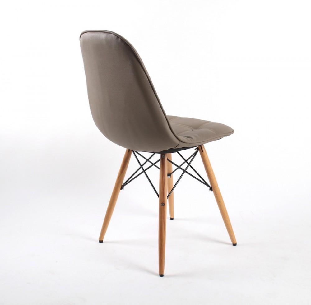 Design Stuhl Mit Kunstleder Bezogen, Farbe Taupe