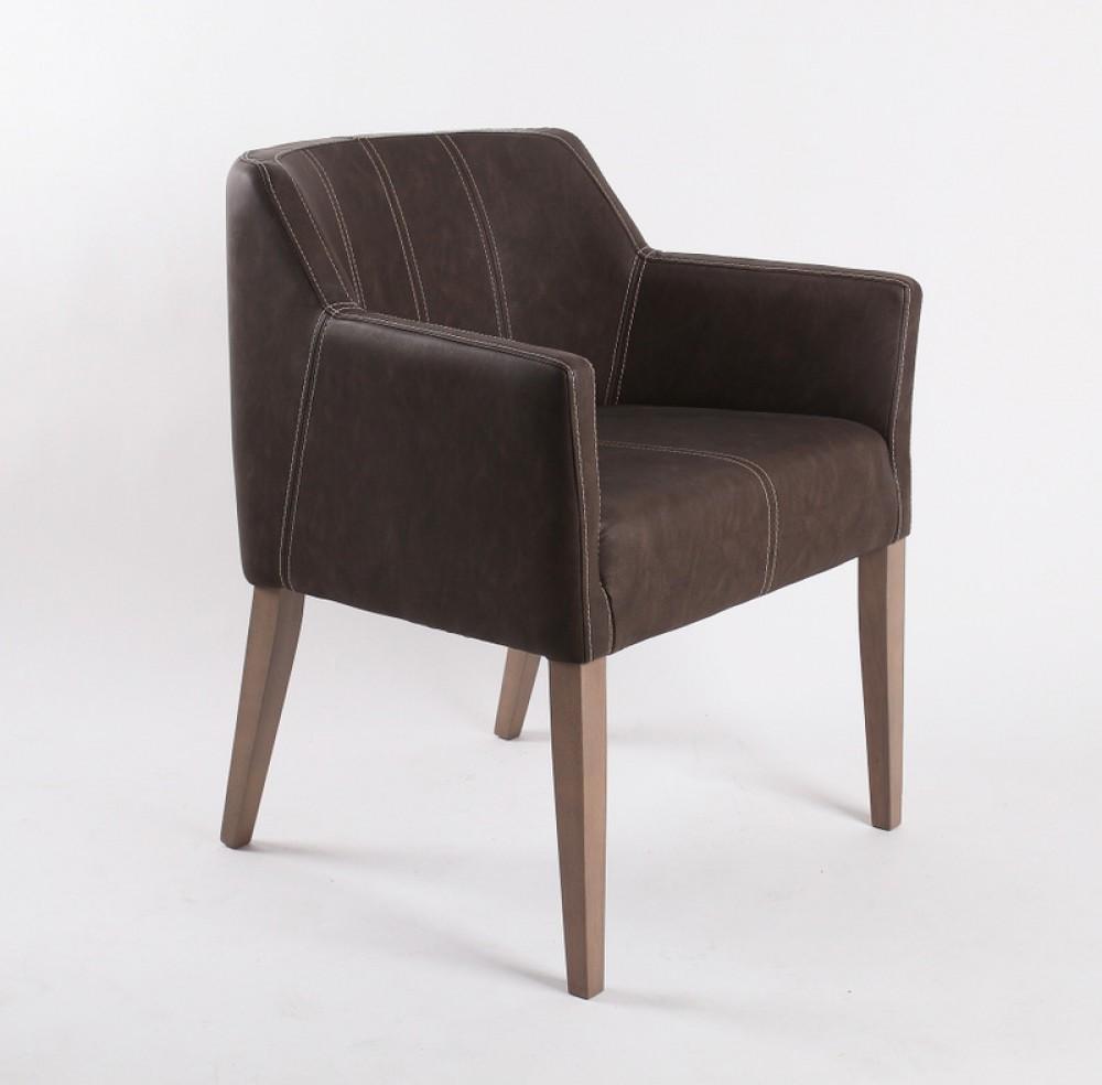 Stuhl mit Armlehne braun gepolstert
