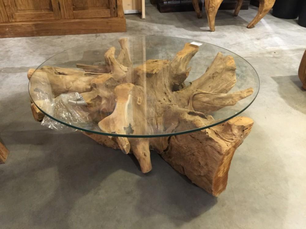 Couchtisch Wurzelholz Tisch Massivholz Und Glas Durchmesser 80 Cm