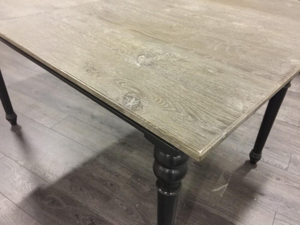 Tisch Ausziehbar Schwarz Grau Landhaus, Esstisch Schwarz Massivholz Eiche,  Länge 160 200 Cm