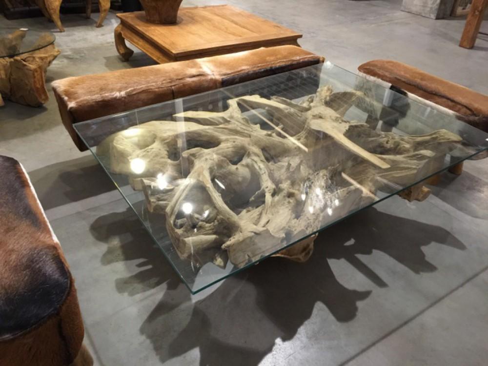 Couchtisch Wurzelholz Tisch Massivholz Und Glas