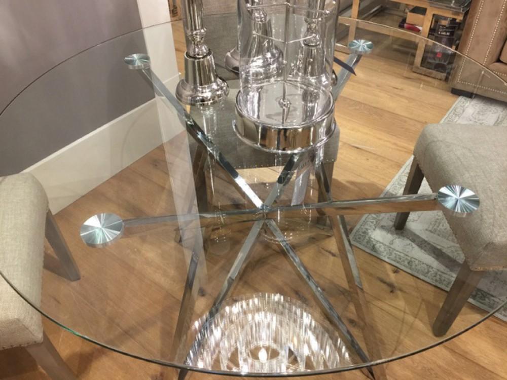 Tisch Rund Metall Glas.Runder Tisch Glas Metall Glastisch Rund Verchromt Esstisch