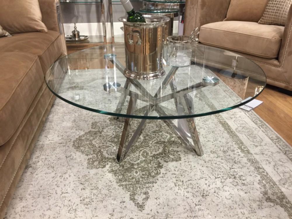 Runder couchtisch glas metall glastisch rund verchromt for Couchtisch glas rund