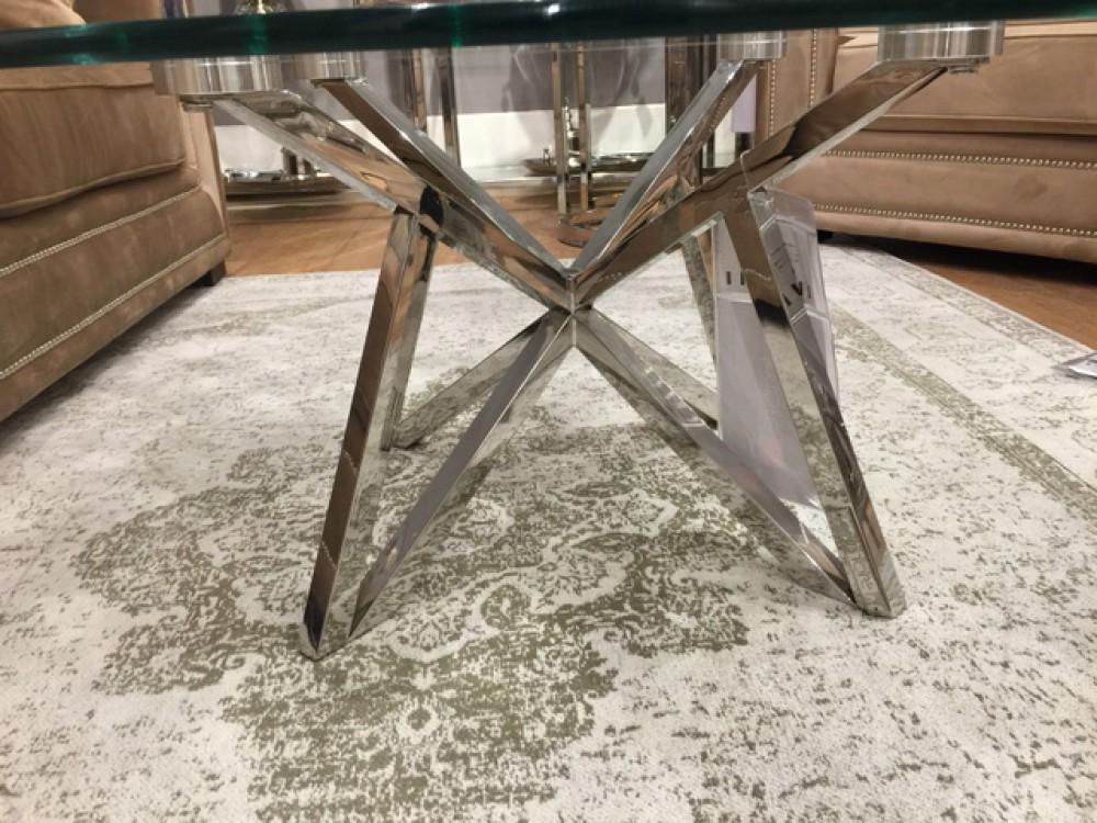 Runder Couchtisch Glas Metall Glastisch Rund Verchromt Couchtisch