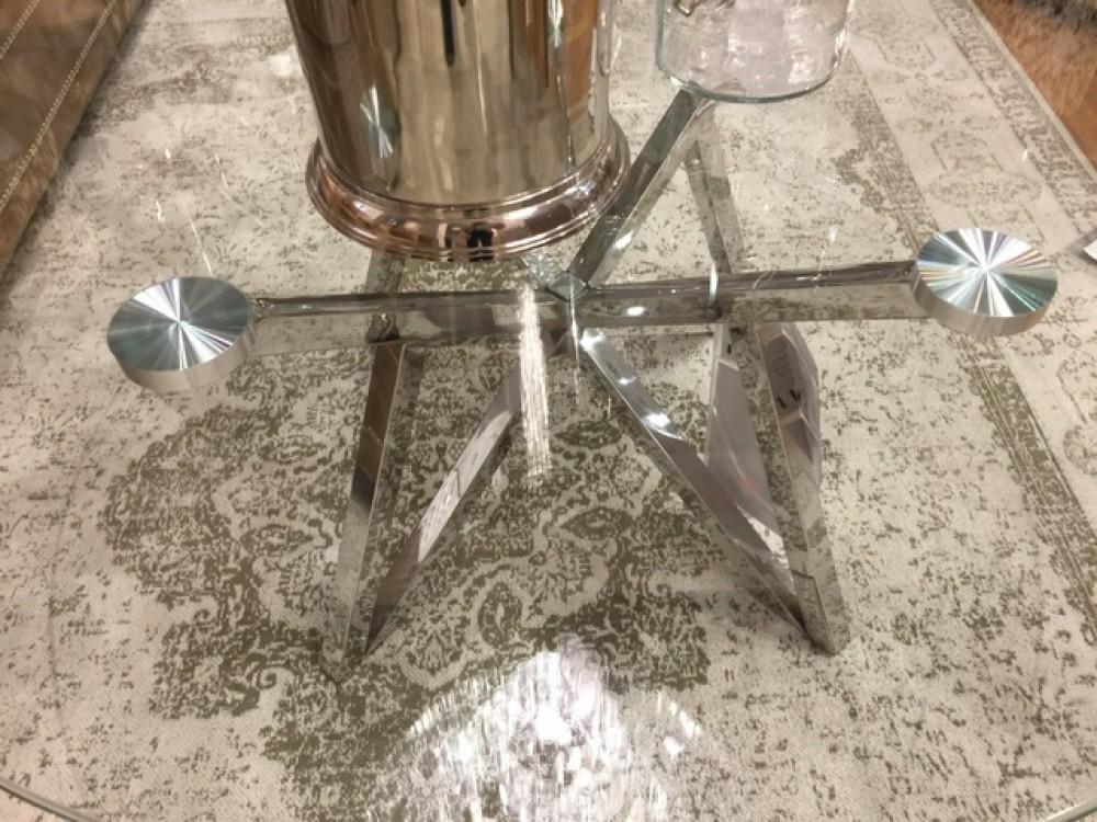 Runder Couchtisch Glas Metall Glastisch Rund Verchromt