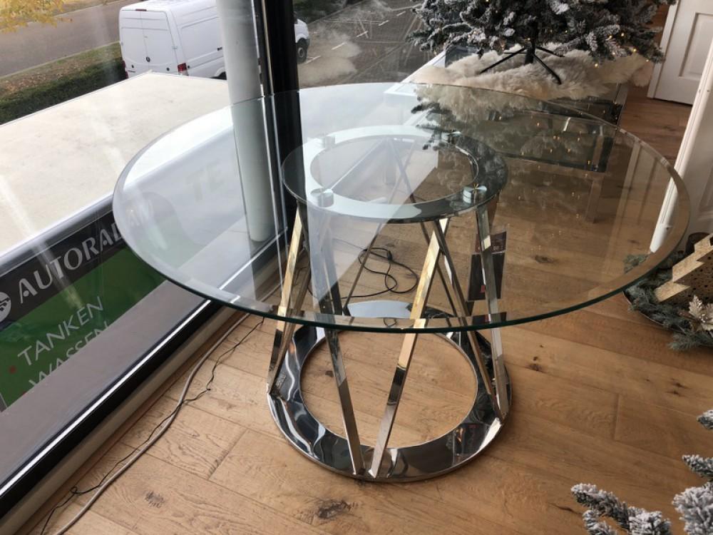 Runder Tisch Glas Metall, Glastisch rund verchromt, Esstisch
