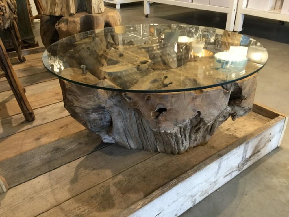 Couchtisch Rund Wurzelholz Tisch Rund Massivholz Und Glas