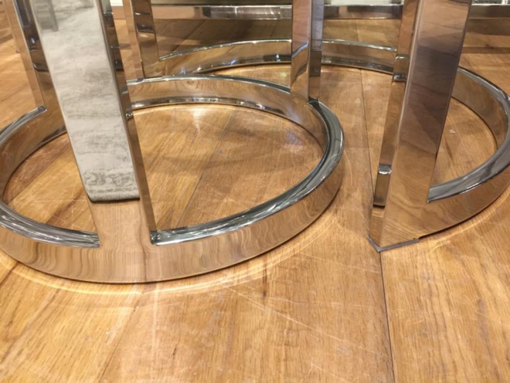 Beistelltisch Rund Glas Verchromt 2er Set Couchtisch Metall Gestell