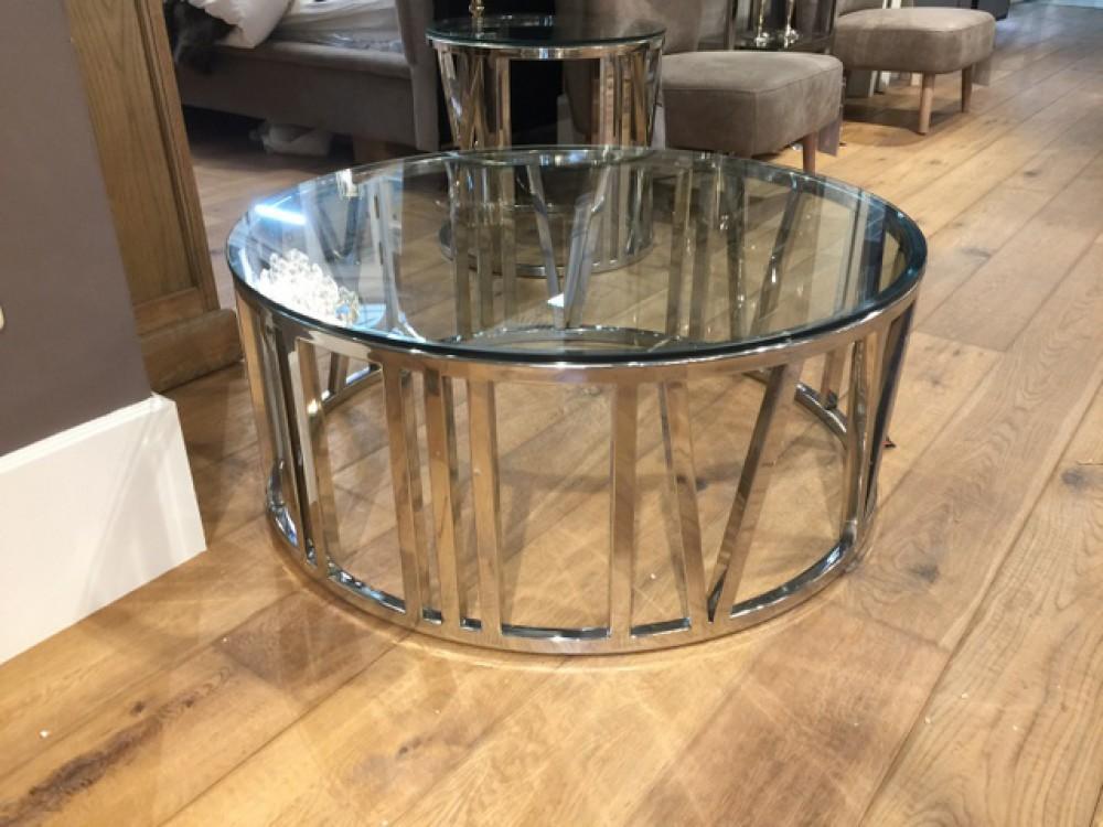 Couchtisch rund glas verchromt couchtisch metall gestell for Couchtisch glas rund