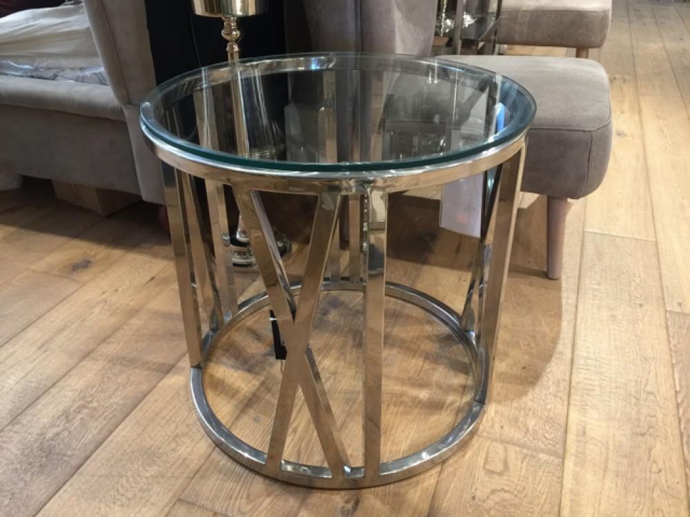 Beistelltisch rund glas verchromt couchtisch metall for Couchtisch metall glas