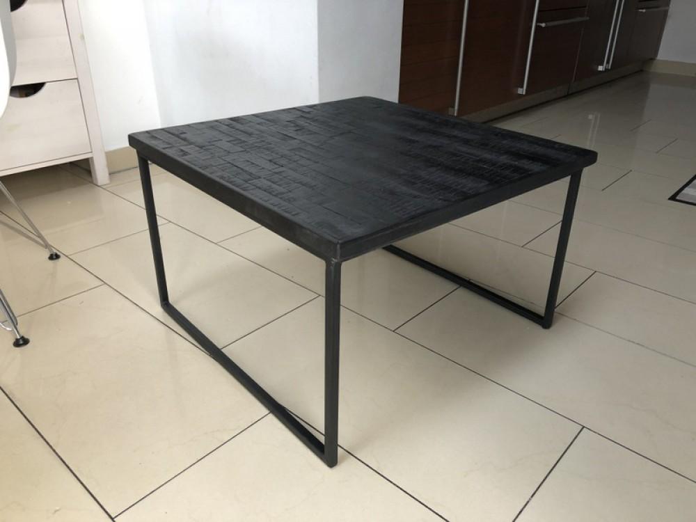 Couchtisch Schwarz Couchtisch Holz Metall Masse 60x60 Cm