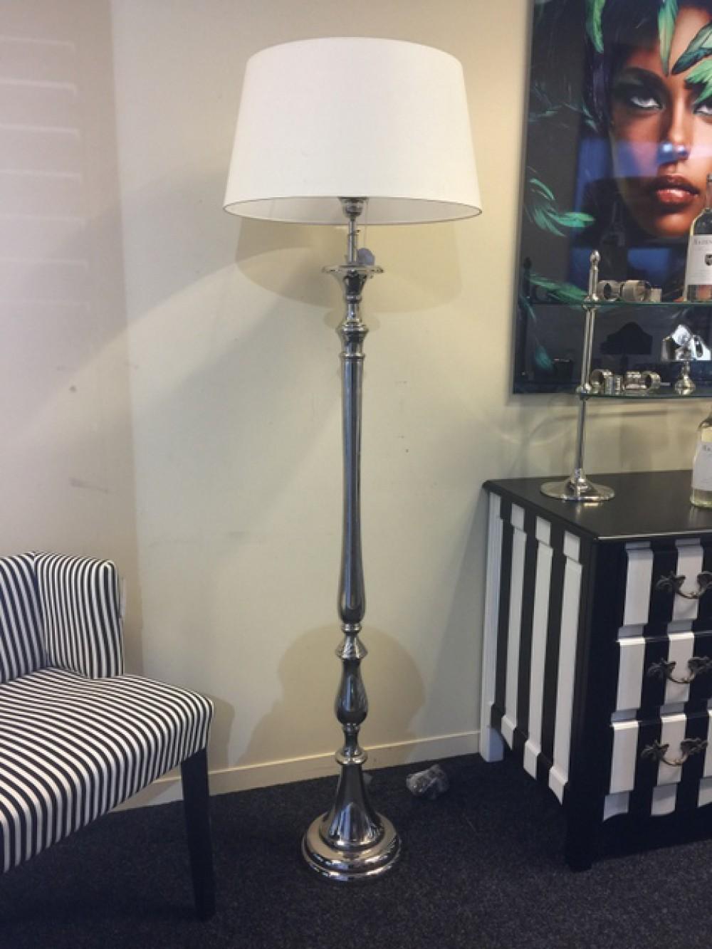 Stehlampe Mit Lampenschirm Landhaus Verchromte Stehleuchte
