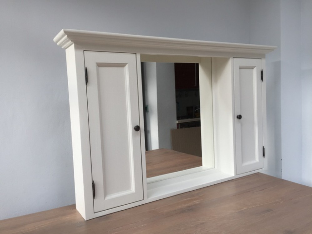 spiegelschrank wei massivholz badezimmer spiegel wei im landhausstil ma e 131 x 80 cm. Black Bedroom Furniture Sets. Home Design Ideas