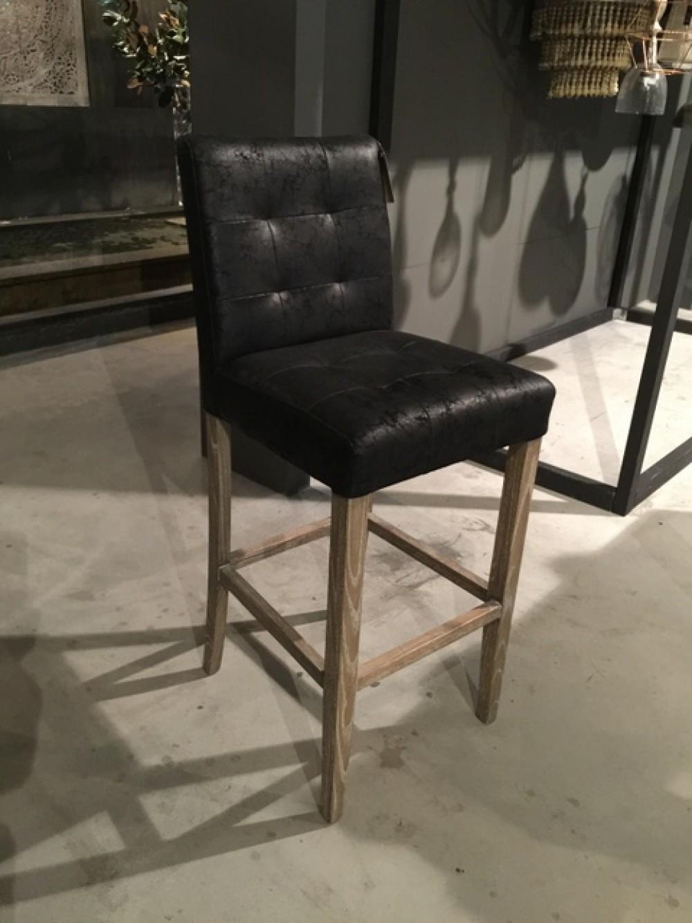 barstuhl schwarz gepolstert barhocker schwarz tresenhocker landhaus stil m bel. Black Bedroom Furniture Sets. Home Design Ideas