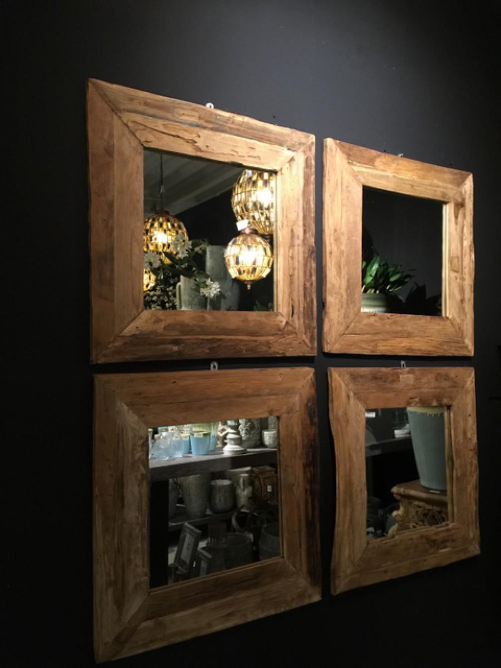 spiegel massivholz teak wandspiegel ma e 80 x 80 cm. Black Bedroom Furniture Sets. Home Design Ideas