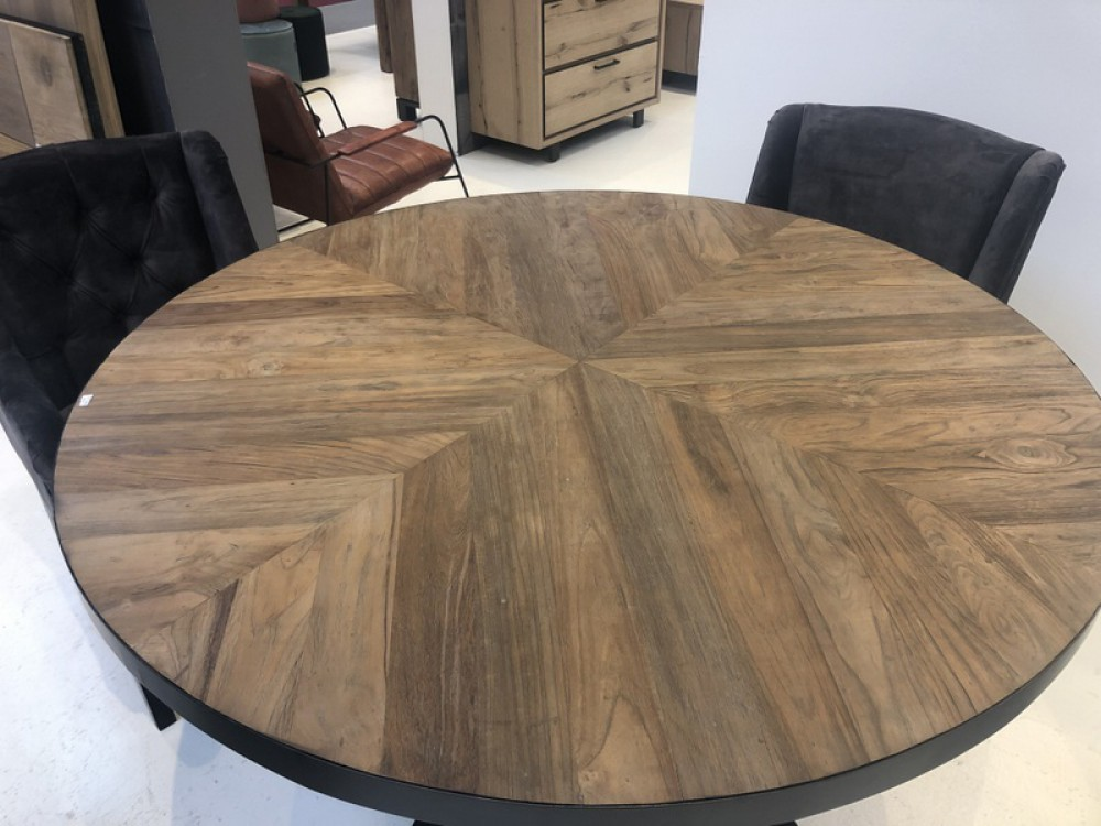 Tisch Rund Landhaus Esstisch Rund Metall Tischgestell Runder Tisch Industriedesign Durchmesser 140 Cm
