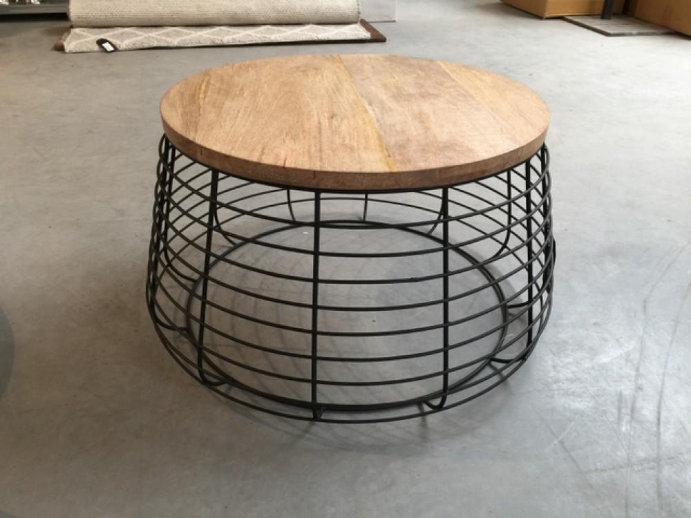 Couchtisch Rund Couchtisch Metall Holz Durchmesser 76 Cm