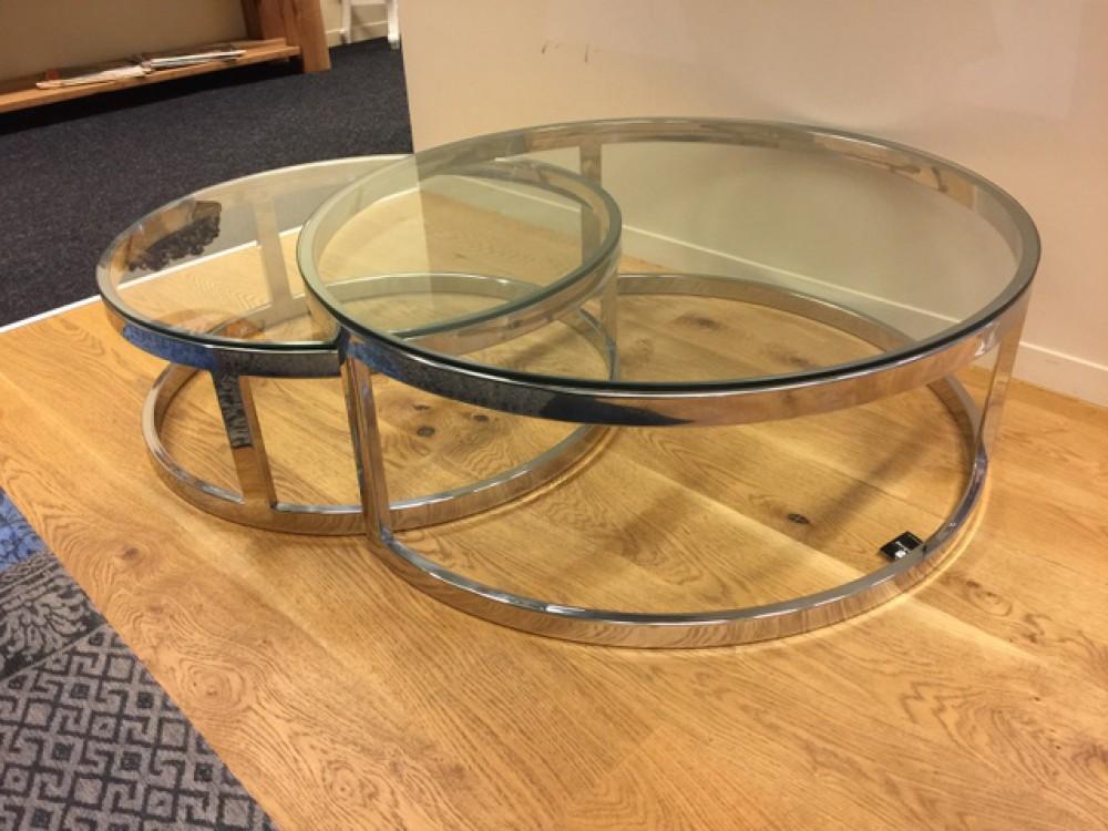 2er Set Couchtisch Rund Silber Glas Metall Tisch Rund Verchromt