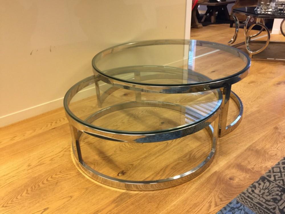2er set couchtisch rund silber glas metall tisch rund. Black Bedroom Furniture Sets. Home Design Ideas