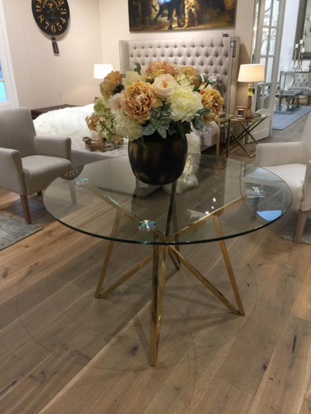 Tisch Rund Metall Glas.Runder Tisch Glas Metall Glastisch Rund Gold Esstisch Rund