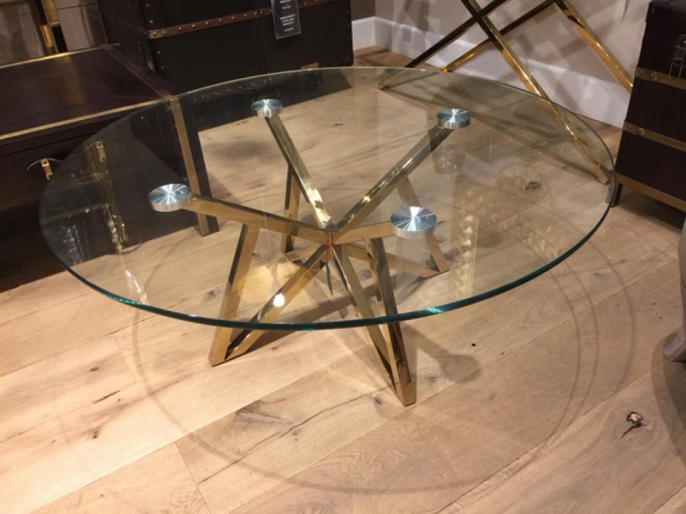Runder Couchtisch Glas Metall Glastisch Rund Gold Tisch Rund