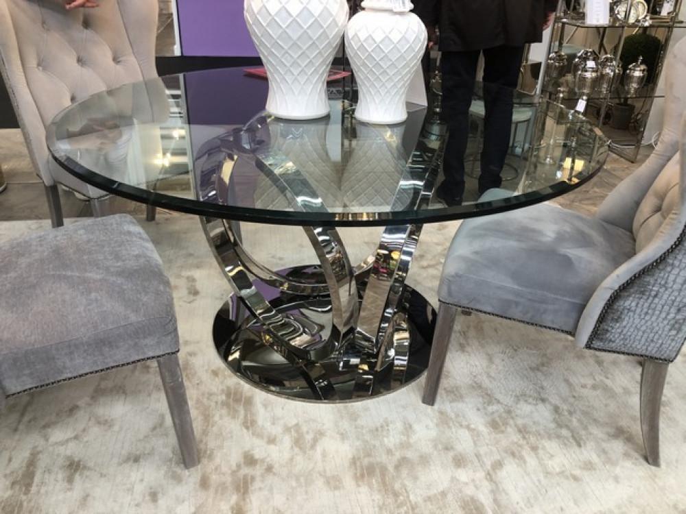 Runder Glastisch verchromtes Tischgestell, Tisch rund