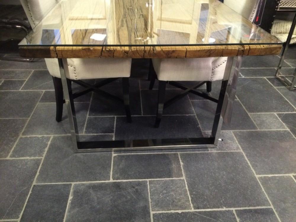 Esstisch Glasplatte recyceltes Holz, Tisch Länge 220 cm