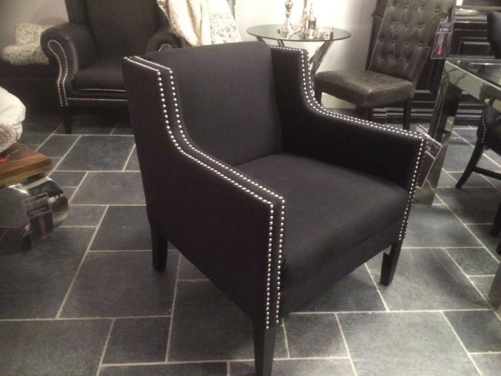 Sessel mit Nieten schwarz gepolstert Sessel Landhaus