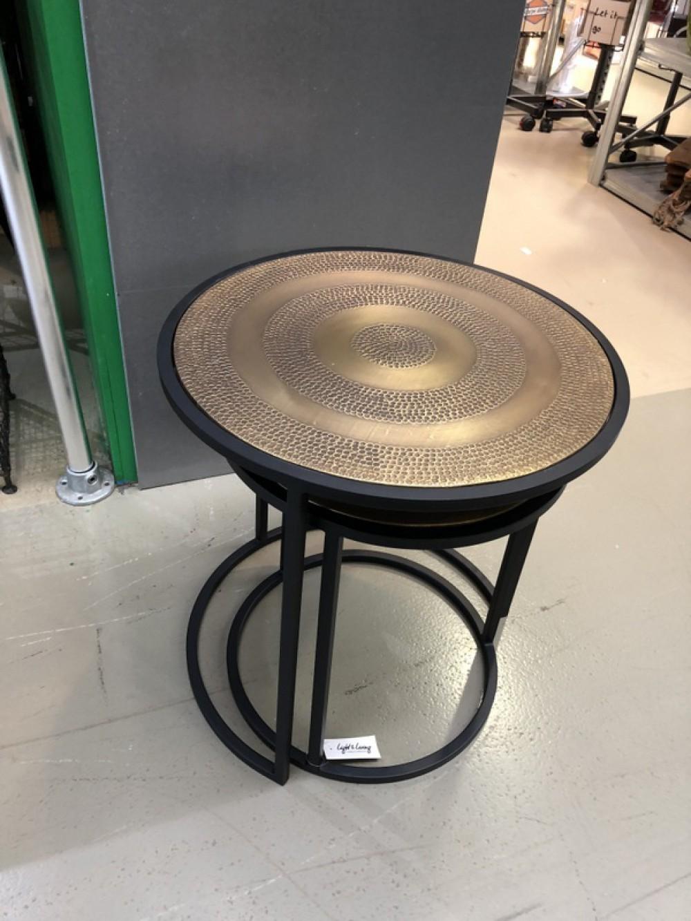 Beistelltisch Schwarz Metall Beistelltisch 2er Set Schwarz Bronze