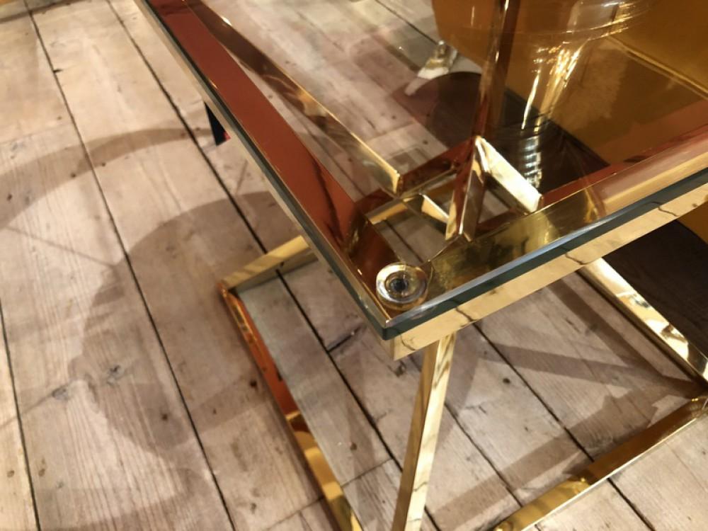 Beistelltisch Gold Glas Metall Tisch Glas Gold Farbe Maße 50x50 Cm