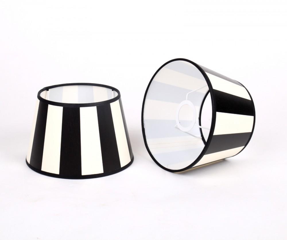 gestreifter lampenschirm schwarz wei rund 20 cm. Black Bedroom Furniture Sets. Home Design Ideas