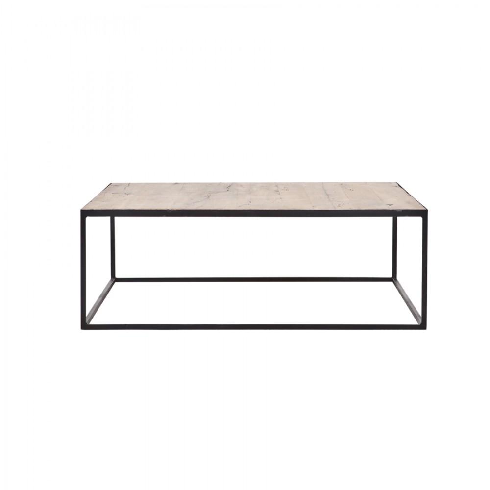Couchtisch Metall Holz Tisch Schwarz Braun Masse 100x100 Cm