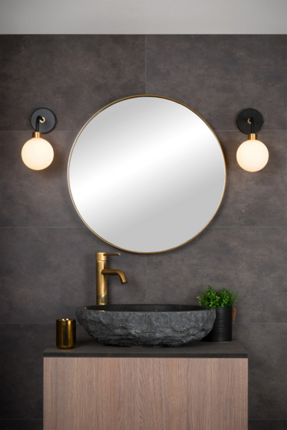 Wandlampe Badezimmer, schwarz/gold, 20xG20