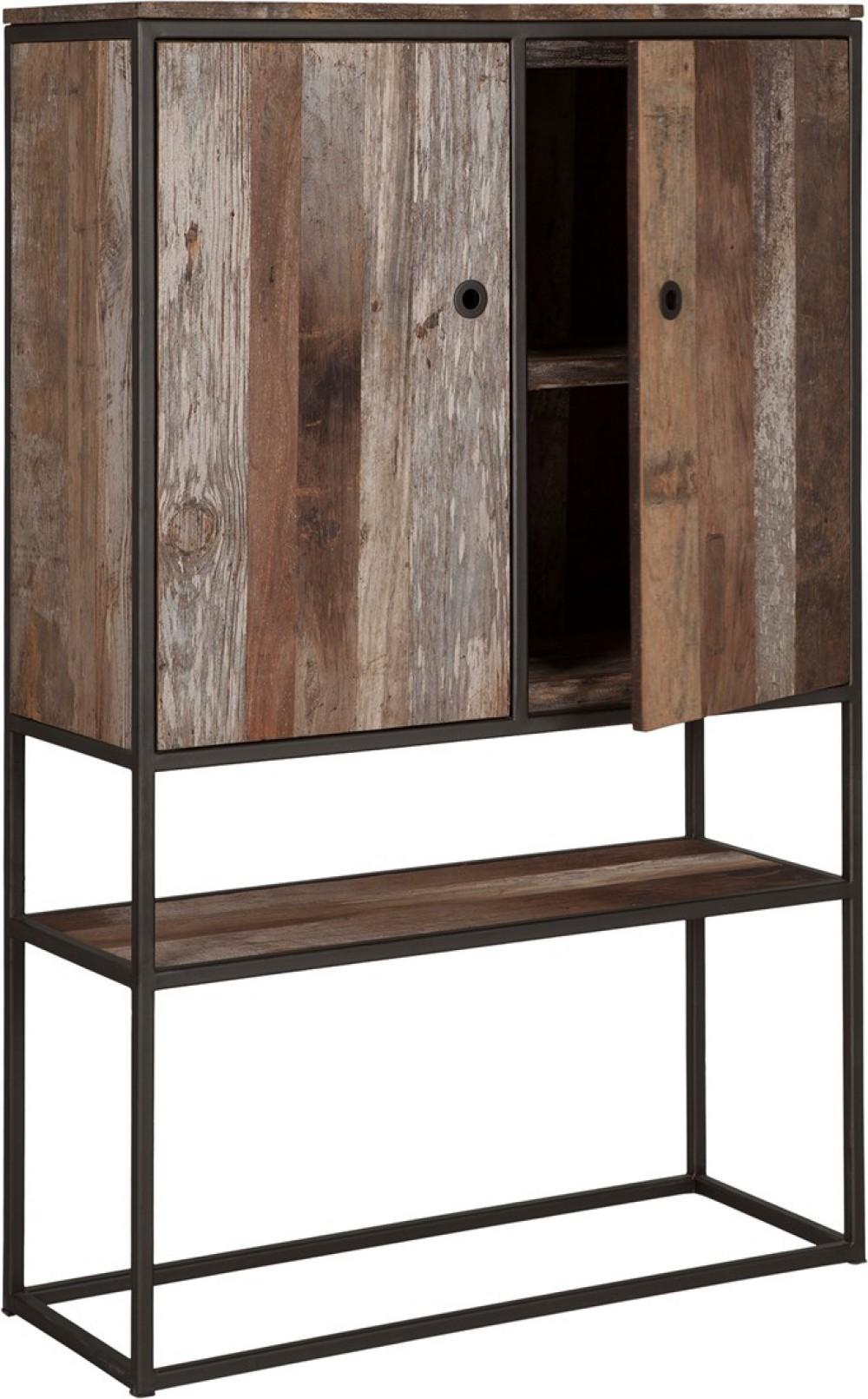 Schrank Regal Industriedesign Schrank Braun Holz Metall Breite 90 Cm