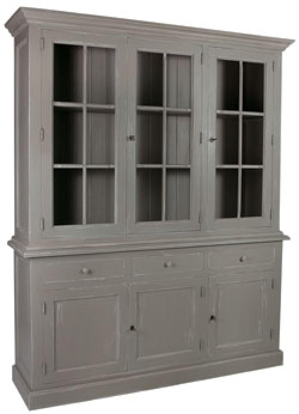 vitrine grau geschirrschrank grau massivholz k chenschrank grau landhaus breite 185 cm. Black Bedroom Furniture Sets. Home Design Ideas