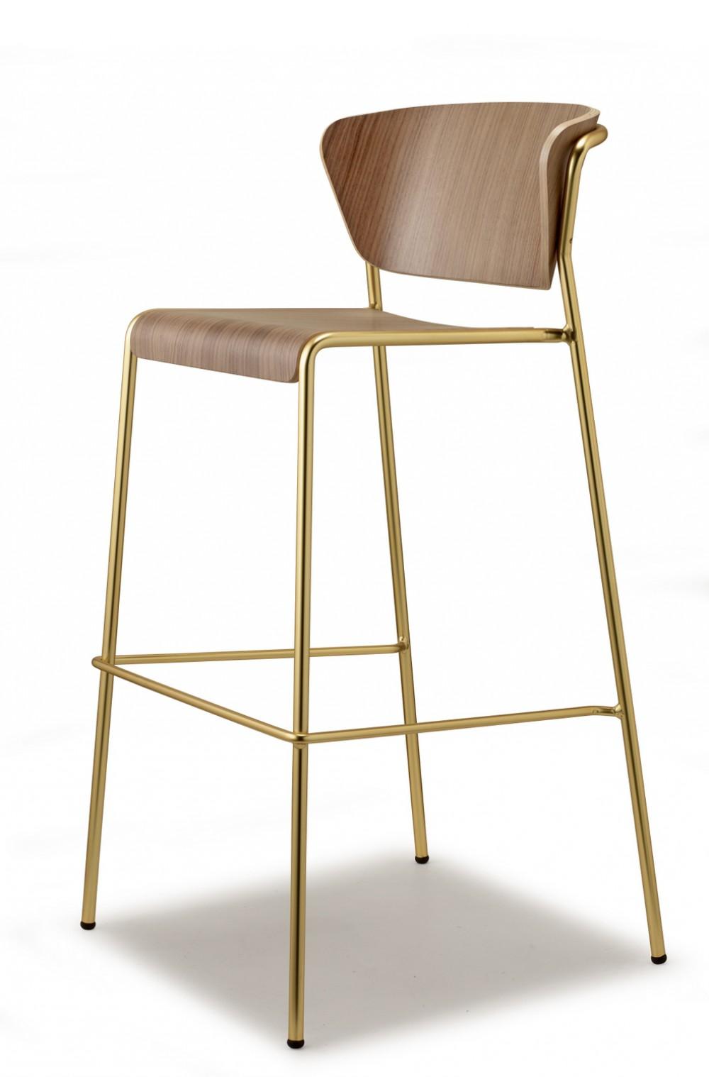 Design Barstuhl Gold Stuhl Stapelbar Barhocker Holz Natur Tresenstuhl