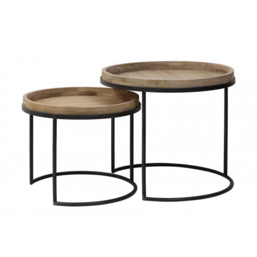 Beistelltisch Rund Holz 2er Set Beistelltische Metall Holz