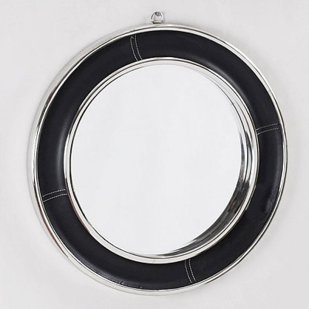 spiegel rund leder metall wandspiegel rund schwarz silber. Black Bedroom Furniture Sets. Home Design Ideas
