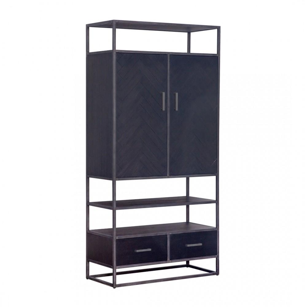 Schrank schwarz Metall, Wohnzimmerschrank schwarz Holz, Breite 7 cm