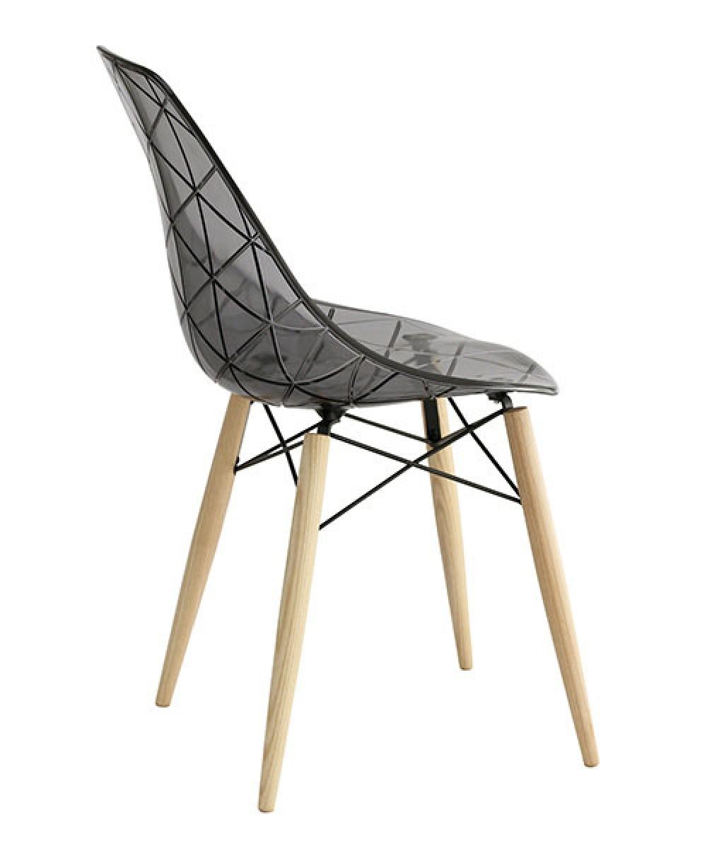 Stuhl Grau Transparent Design Stuhl Holz Gestell