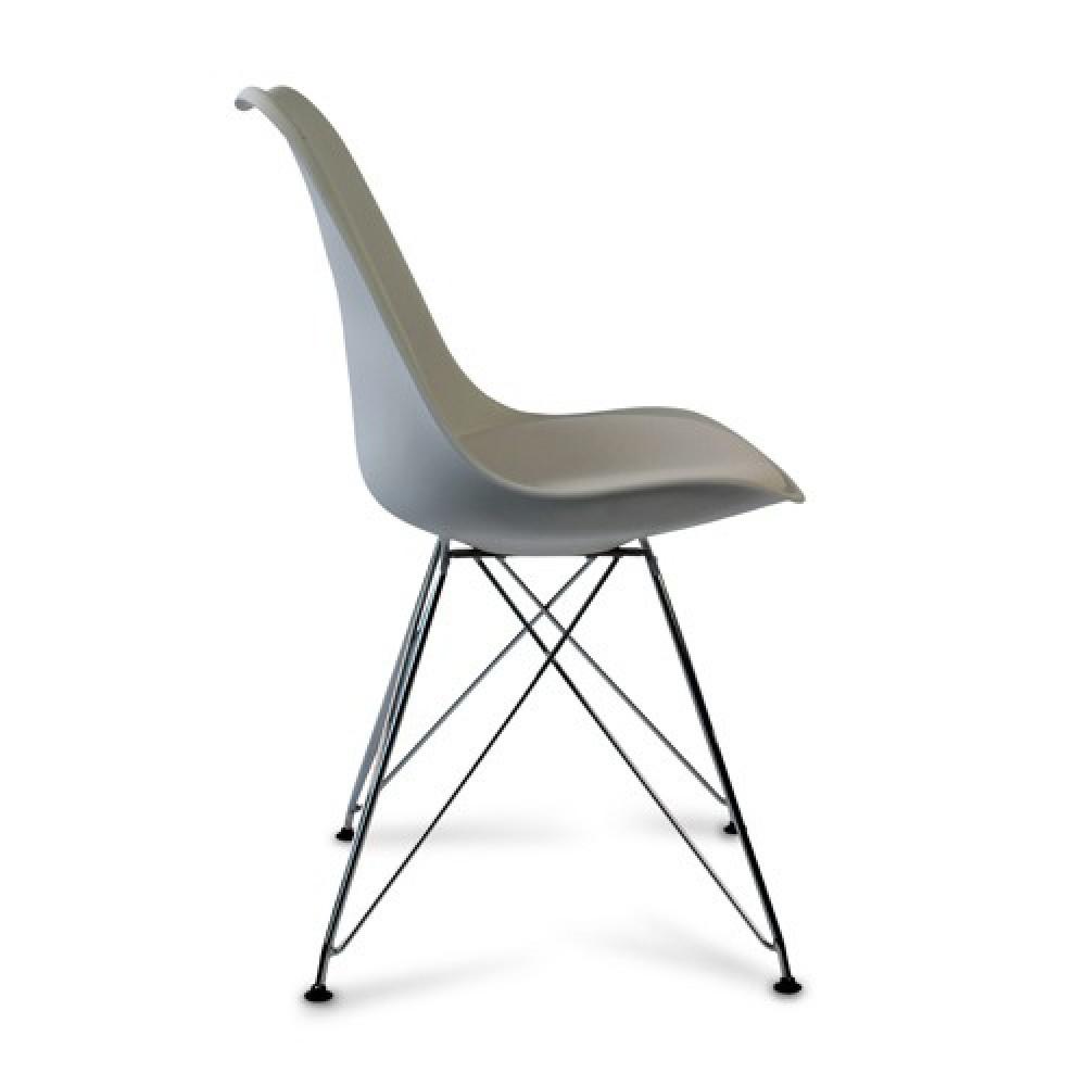 Stuhl wei stuhl gepolstert mit metallgestell verchromt for Stuhl gepolstert