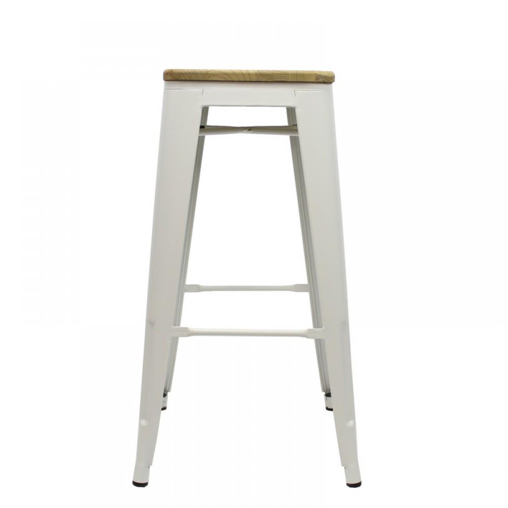 Metall Hocker Weiß Holz Sitzfläche Barhocker Industriedesign Weiß